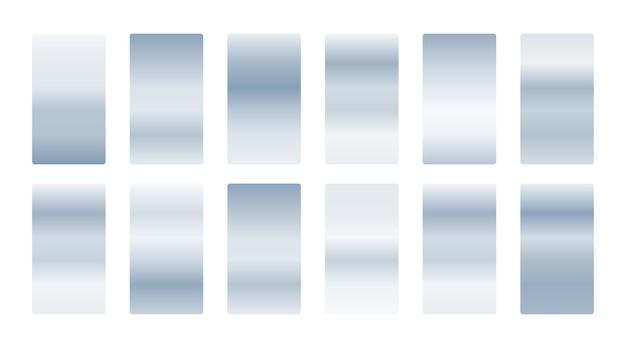 Zestaw metalicznych srebrnych miękkich gradientów