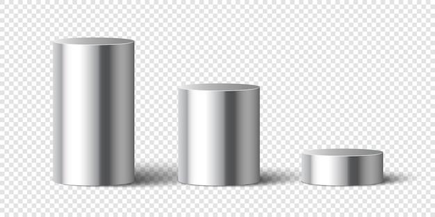 Zestaw metalowych błyszczących cylindrów. cokoły.