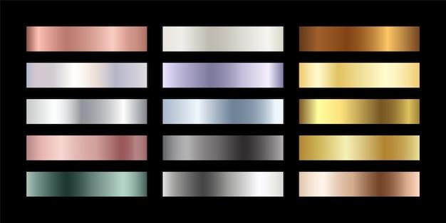 Zestaw metalowych chromowanych gradientów. metaliczne różowe złoto, brąz, srebro, północna zieleń, złota próbka