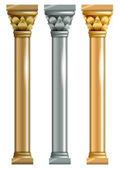 Zestaw metalowych kolumn