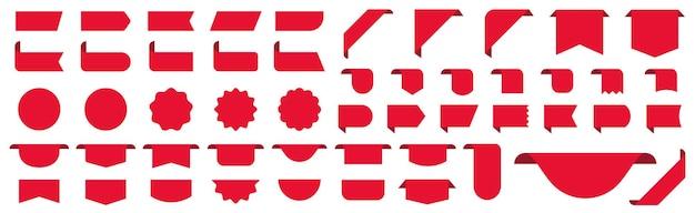 Zestaw metek cenowych. naklejki etykiety tagi wstążki wektor
