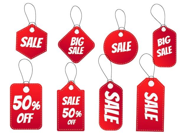 Zestaw metek. realistyczny czerwony znacznik zniżki na promocję sprzedaży.