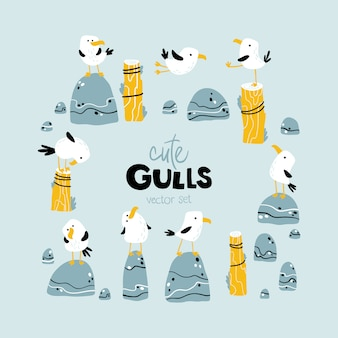 Zestaw mew morskich. dziecinna ilustracja w stylu skandynawskim kreskówka. ptaki na plaży, na kamieniach, na wędkach