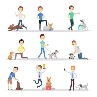 Zestaw mężczyzn chodzących, bawiących się i trenujących swoje słodkie psy. chłopcy opiekujący się zwierzętami. właściciele psów. ilustracja