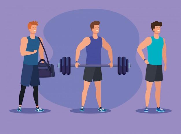 Zestaw mężczyzn fitness z torbą i ciężarem do ćwiczeń