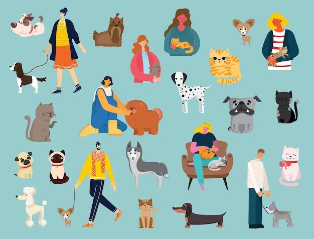 Zestaw mężczyzn i dziewcząt z uroczymi kotami i psami