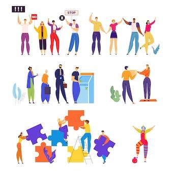 Zestaw mężczyzn i kobiet biorących udział w demonstracji z transparentami w dłoniach, korzystania z bankomatu w banku, wręczania prezentów.