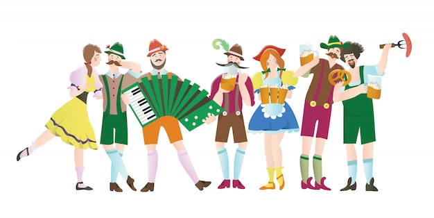 Zestaw mężczyzn i kobiet na octoberfest. postacie w strojach ludowych. ilustracja do menu restauracji lub baru, na białym tle.