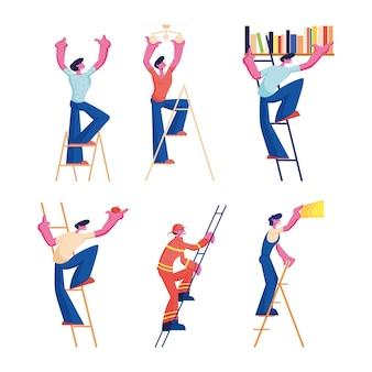 Zestaw mężczyzn na drabinach. męskie postacie różnych zawodów i zawodów wspinające się po schodach. płaskie ilustracja kreskówka