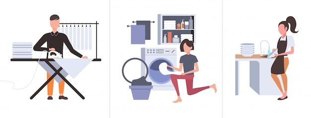 Zestaw mężczyzna prasowanie odzieży kobieta wkładanie brudnych ubrań do pralki wykonując prace domowe różne prace porządkowe kolekcja pełnej długości pozioma