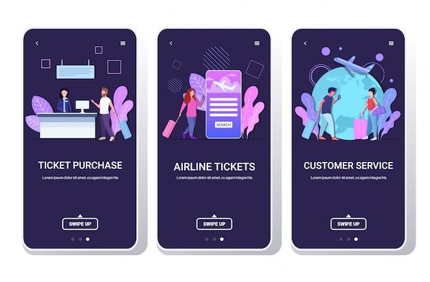 Zestaw mężczyźni kobiety podróżujący z bagażem zakup biletów bilety lotnicze obsługa klienta podróż koncepcja telefon ekrany kolekcja aplikacja mobilna kopia przestrzeń pełna długość pozioma