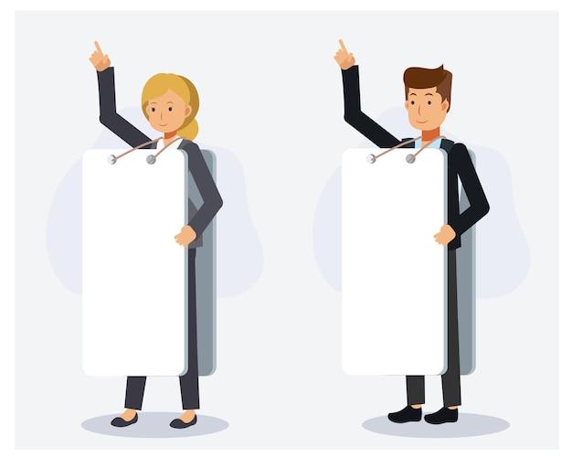 Zestaw mężczyzny i kobiety sobie znak reklamy pustej tablicy i ręka w górę. płaskie wektor 2d charakter ilustracja kreskówka.
