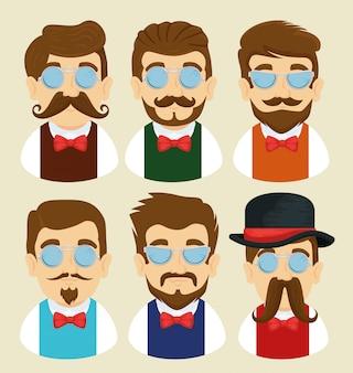 Zestaw mężczyzny w okularach, wąsy i krawat łuk