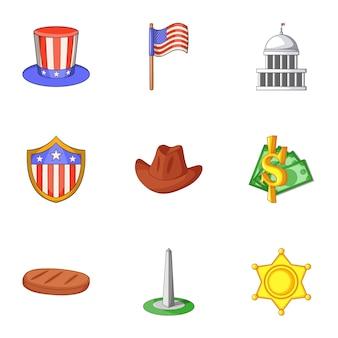 Zestaw miasta waszyngton, stylu cartoon