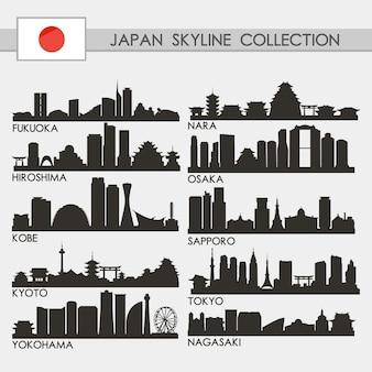 Zestaw miasto japonii skyline