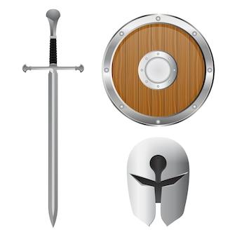 Zestaw miecza, hełmu i tarczy. ilustracja na białym tle