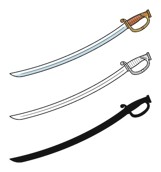 Zestaw mieczy szablowych na białym tle