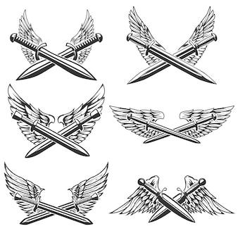 Zestaw mieczy ze skrzydłami. elementy logo, etykiety, godła, znaku. ilustracja