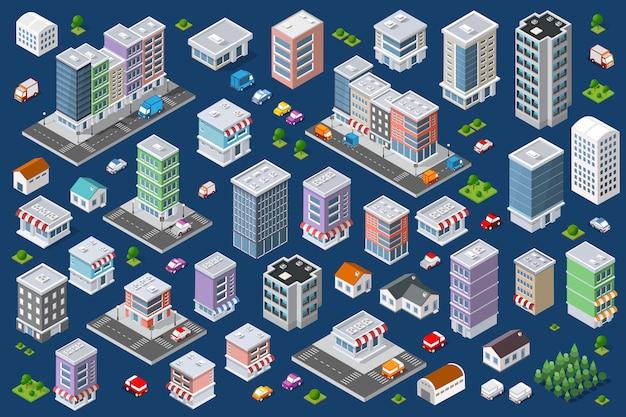 Zestaw miejskich budynków mieszkalnych