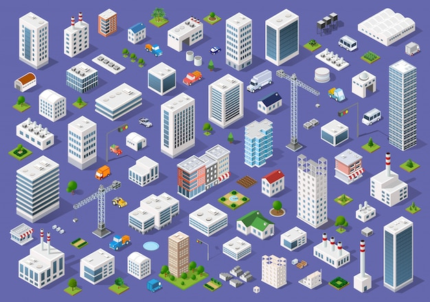 Zestaw miejskich budynków płaskich