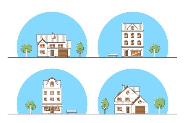Zestaw miejskich i podmiejskich domów mieszkalnych, ikony cienka linia.