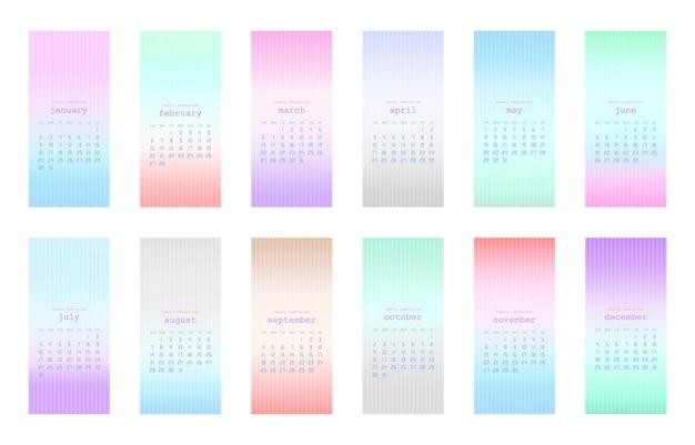 Zestaw miękkich kolorów tła gradientu z kalendarzem 2022. tydzień zaczyna się od niedzieli. ilustracja wektorowa.