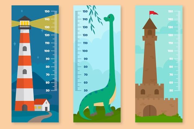 Zestaw mierników wysokości płaskiej konstrukcji