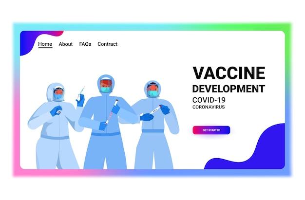 Zestaw mieszać lekarzy lub naukowców rasy w maskach pracujących z wymazem z nosa covid-19 szybkie testy laboratoryjne próbki krwi w kolbach koncepcja pandemii koronawirusa kopia pozioma przestrzeń portretowa ilustracja wektorowa