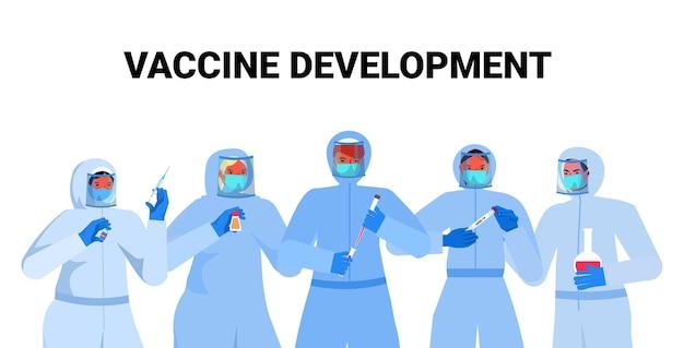 Zestaw mieszać lekarzy rasy lub naukowców w maskach pracujących z wymazem z nosa covid-19 szybkie testy laboratoryjne próbki krwi w butelkach koncepcja pandemii koronawirusa ilustracja wektorowa portret poziomy