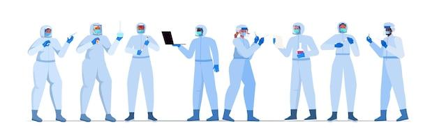 Zestaw mieszać lekarzy wyścigowych lub naukowców w maskach pracujących z wymazem z nosa covid-19 szybkie testy laboratoryjne próbki krwi w kolbach koncepcja pandemii koronawirusa pozioma ilustracja wektorowa pełnej długości