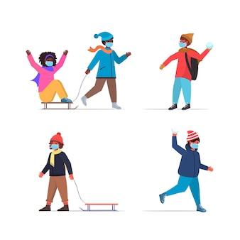 Zestaw mieszanka wyścigu dzieci bawiące się zimą na świeżym powietrzu, wypoczynek i zajęcia ilustracja koncepcja kwarantanny koronawirusa