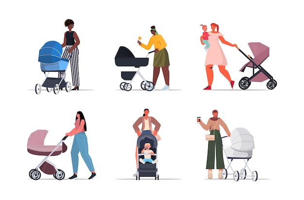 Zestaw mieszanych matek rasy spacerującej z noworodkami w koncepcji macierzyństwa wózka