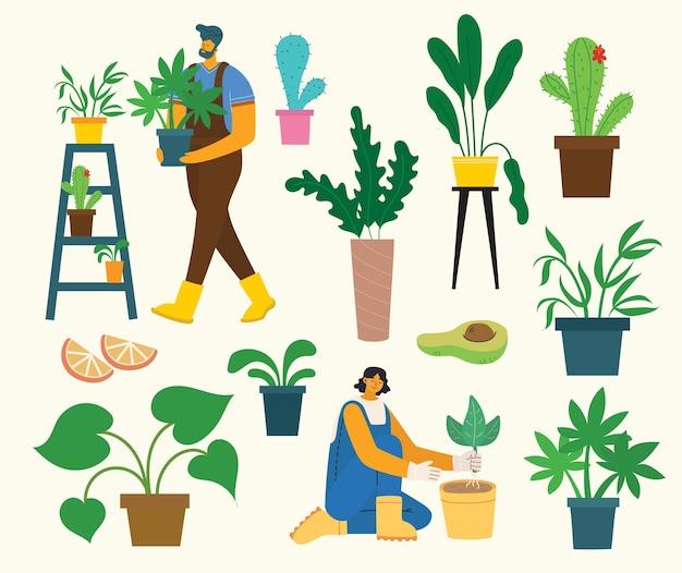 Zestaw mieszkańców wioski z ekologiczną żywnością, kwiatami i roślinami