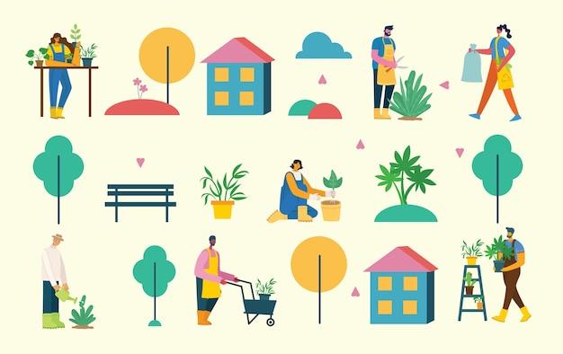 Zestaw mieszkańców wsi z ekologiczną żywnością, kwiatami i roślinami w płaskiej konstrukcji