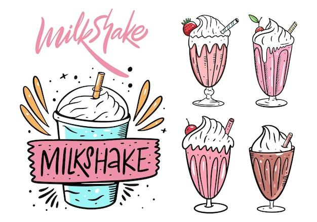 Zestaw milkshake. płaskie ilustracja kreskówka. na białym tle projekt menu kawiarni i baru.