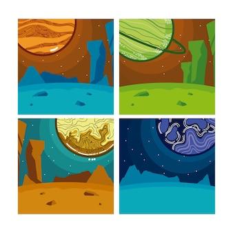 Zestaw milkyway planet w kwadratowych kolorowych ramek