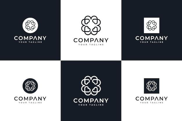 Zestaw miłości elegancki kreatywny projekt logo do wszystkich zastosowań