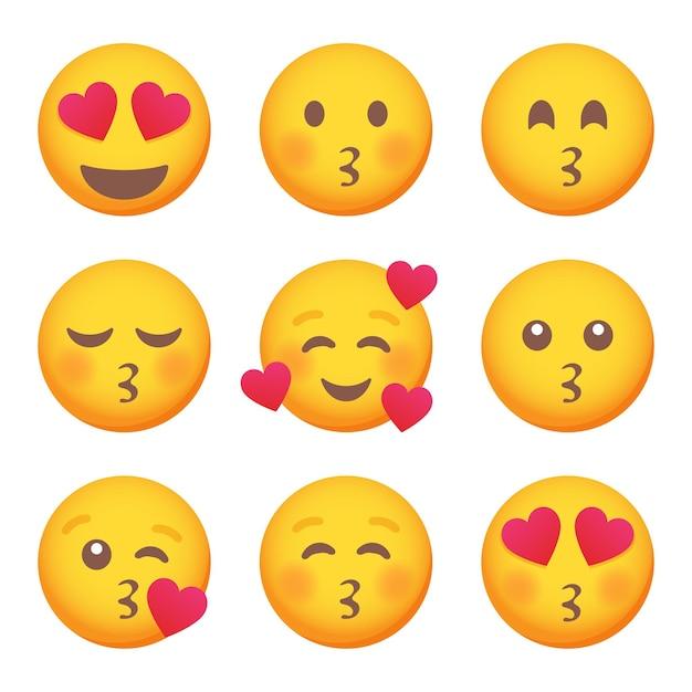 Zestaw miłości i całowanie ikon uśmiech emotikon. kreskówka zestaw emotikonów. wektor zestaw emotikonów