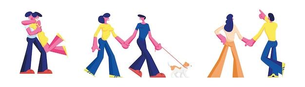 Zestaw miłości para znaków romantycznych relacji. mężczyzna trzymający kobietę na rękach, przytulanie i pokaż gwiazdy. randki szczęśliwych kochanków, spacer z psem. romantyczne uczucia miłosne. ilustracja wektorowa kreskówka ludzie