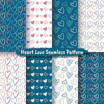 Zestaw miłości serca ręcznie rysowane doodle wzór bez szwu, wzór bezszwowe serca