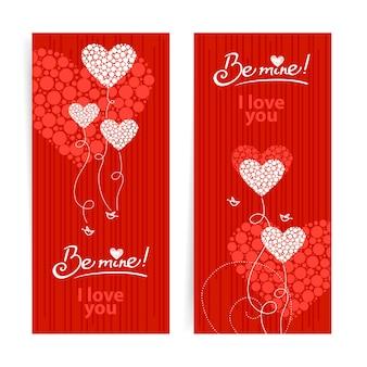 Zestaw miłości tło z streszczenie serca i ptaki. walentynki i kartki ślubne