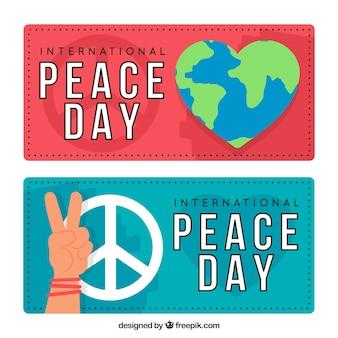 Zestaw miłośników pokoju i miłości o płaskim wzornictwie