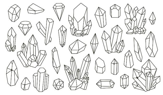 Zestaw minerałów geometrycznych, kryształów, klejnotów. geometryczne ręcznie rysowane kształty