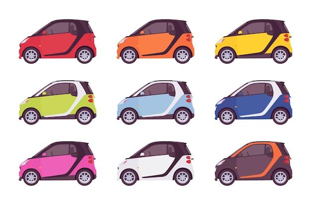 Zestaw mini elektrycznego samochodu w jasnych kolorach