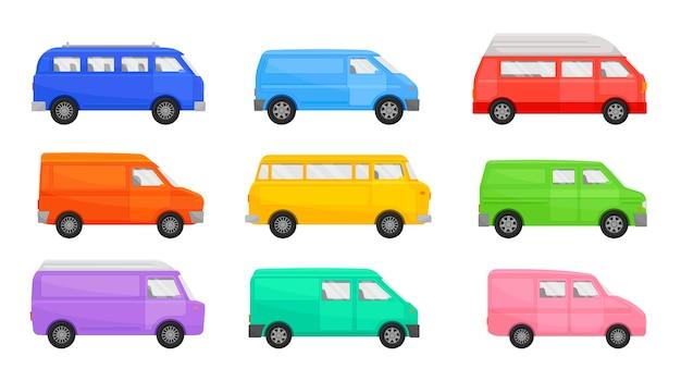 Zestaw minibusów o różnych kształtach i kolorach