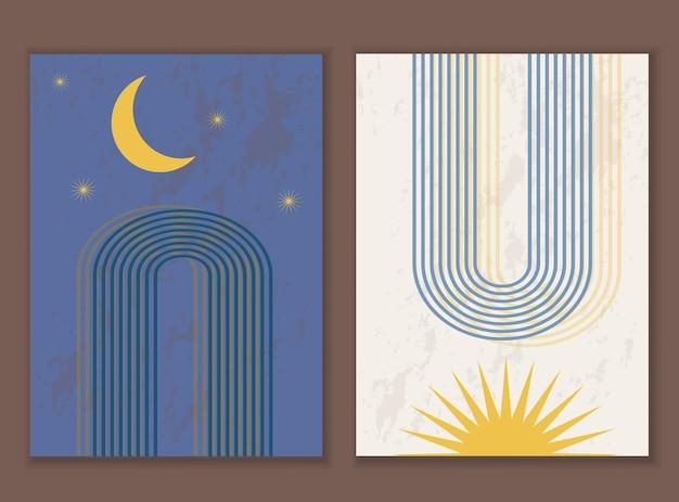 Zestaw minimalistycznego abstrakcyjnego druku z tęczą, księżycem i wschodem słońca