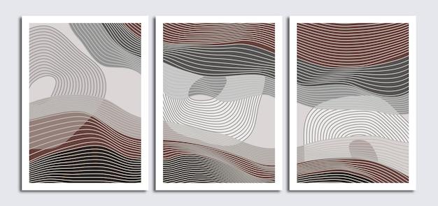 Zestaw minimalistycznego abstrakcyjnego tła sztuki linii
