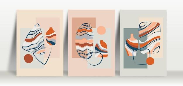 Zestaw minimalistycznego abstrakcyjnego tła w pastelowych kolorach