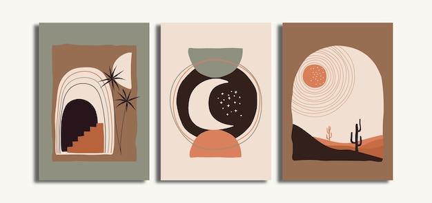 Zestaw minimalistycznego artystycznego plakatu ściennego