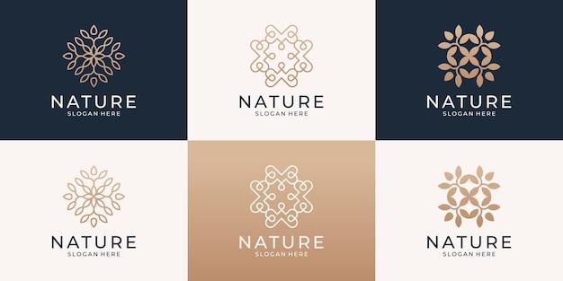 Zestaw minimalistycznego logo streszczenie kwiat.